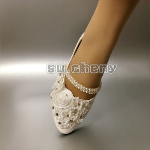 su.cheny White pearl anklet satin lace flowers flat Wedding Bridal shoes 5-13