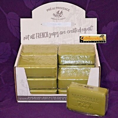 (Pre de Provence OLIVE OIL 72% MARSEILLE Case 12 x 250 Gram French Soap Bath Bars)