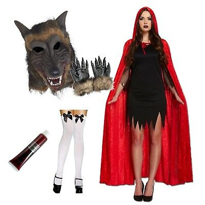 Rot Riding Kapuze und Wolf Paar Kostüm Halloween Werwolf Maske Umhang Kostüm - Halloween Paar