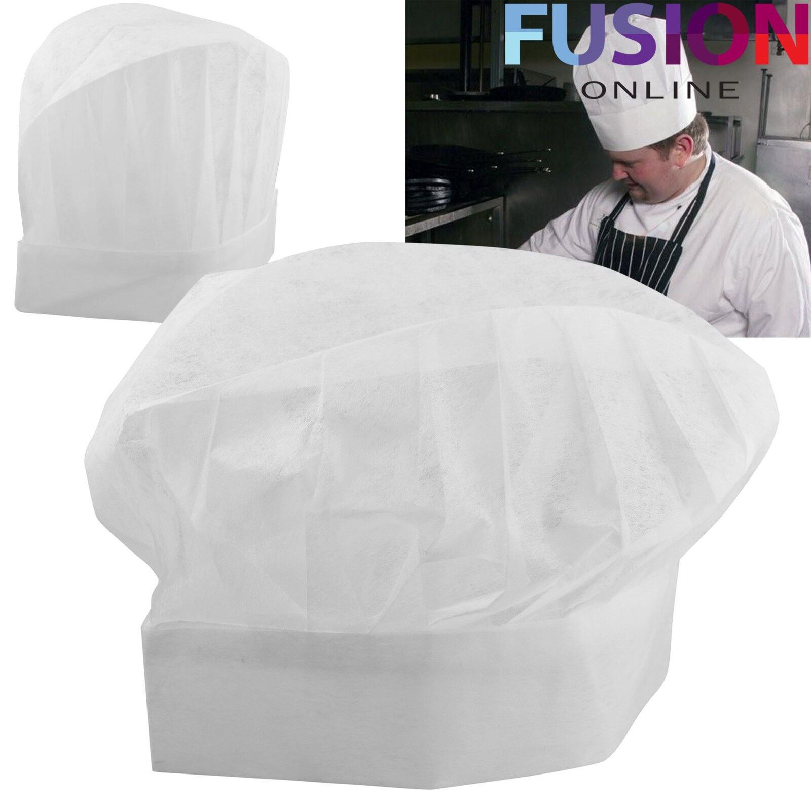 Chefs White Paper Hats Disposable Professional Restaurant Hotel Chef Catering