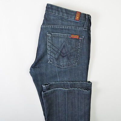 7 For All Mankind Womens A-Pocket Jeans Flare Boot Blue Denim Stretch 27