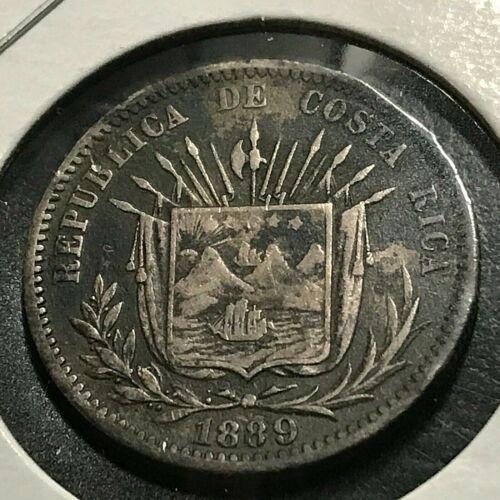 1889 COSTA RICA SILVER 25 CENTAVOS COIN