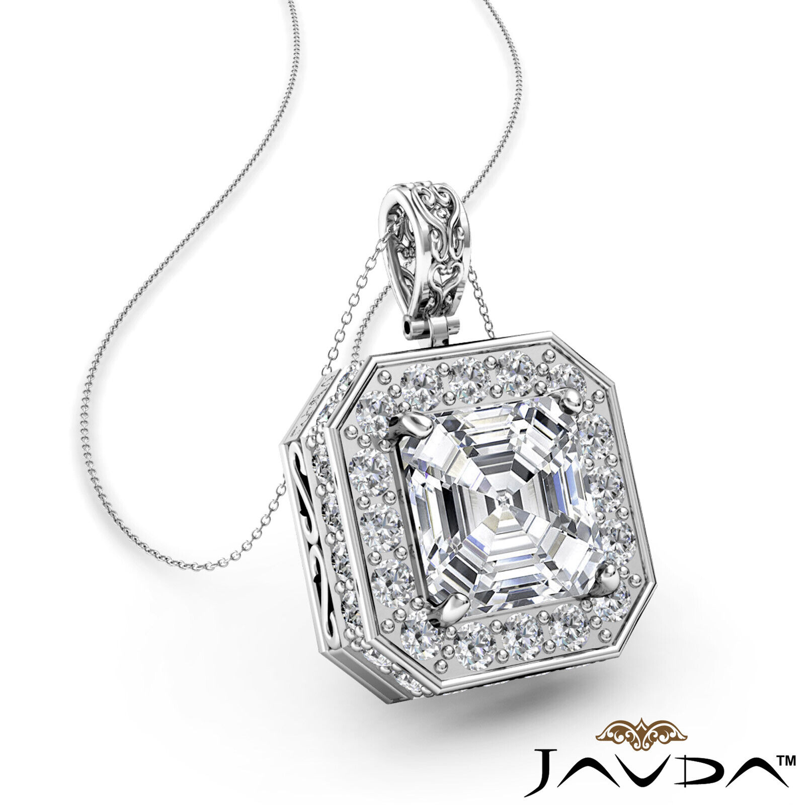 Circa Halo Asscher 100% Natural Diamond Micro Pave Set Pendant Necklace 1.18ctw.