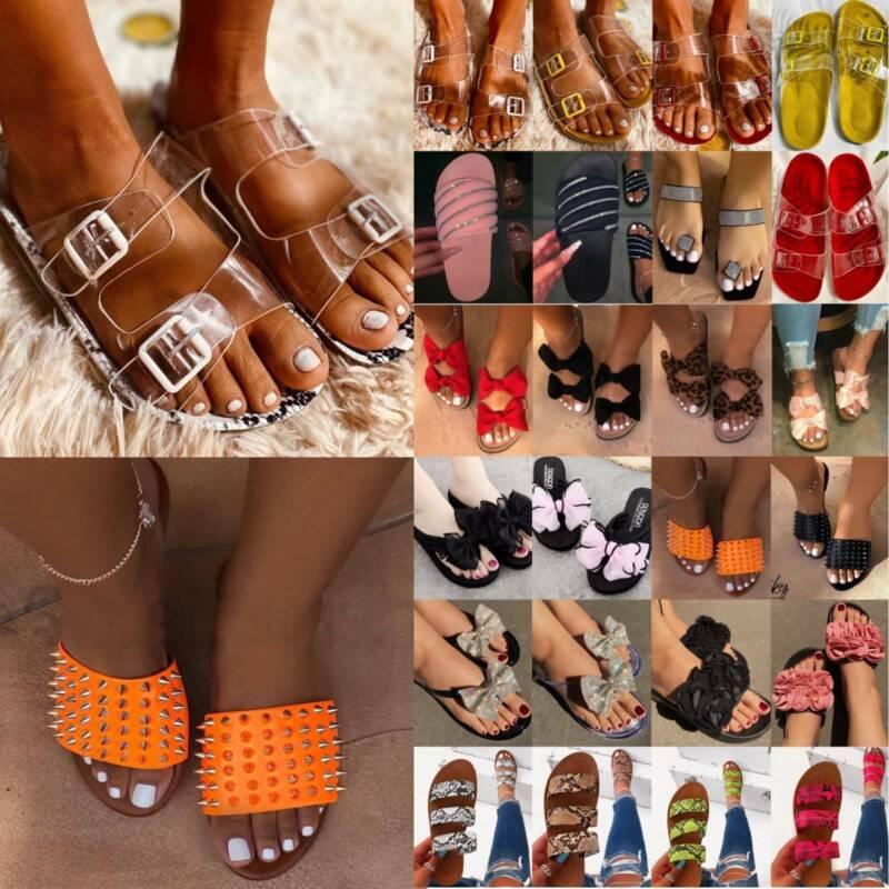 Women Flat Slippers Sandals Footbed Slide Slip On Beach Flip