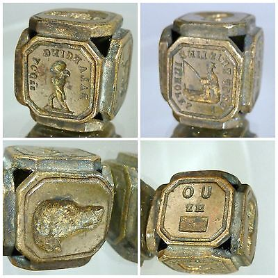 Victorian intaglio multi seal rebus mottos pictures x six sided cube