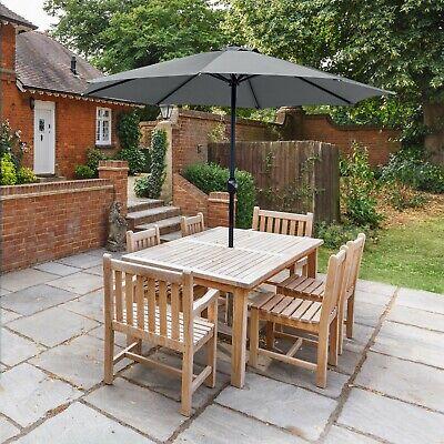 Garden Table Parasol Patio Crank Handle Umbrella Shade Waterproof Dark Grey