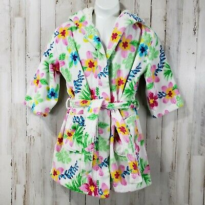 Nautica Girls Swim Robe 5/6 White Floral Terry Cloth Belted Two Pocket Beach