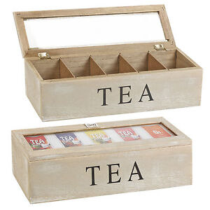 Distressed Wooden Tea Box 5 Sections Compartments Container Bag Chest Storage