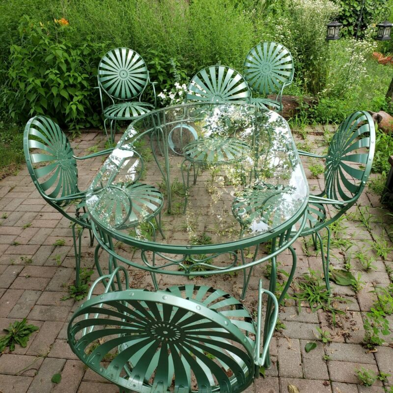 Rare Vintage Francois Carre Sundial Table And Six Chairs