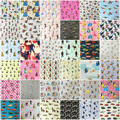 Disney Fabric 100% Cotton Characters Princess Winnie Toy Story Heros 140cm wide