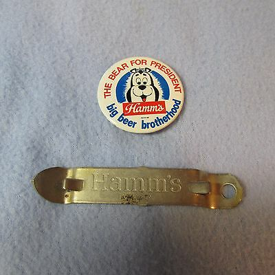 Hamm's The Bear For President Big Beer Advertising Pinback Button  & Opener Nice