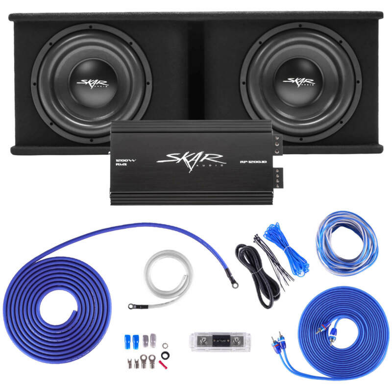 "SKAR AUDIO DUAL 12"" 2400W SDR COMPLETE BASS PKG LOADED SUB BOX - AMP - WIRE KIT"