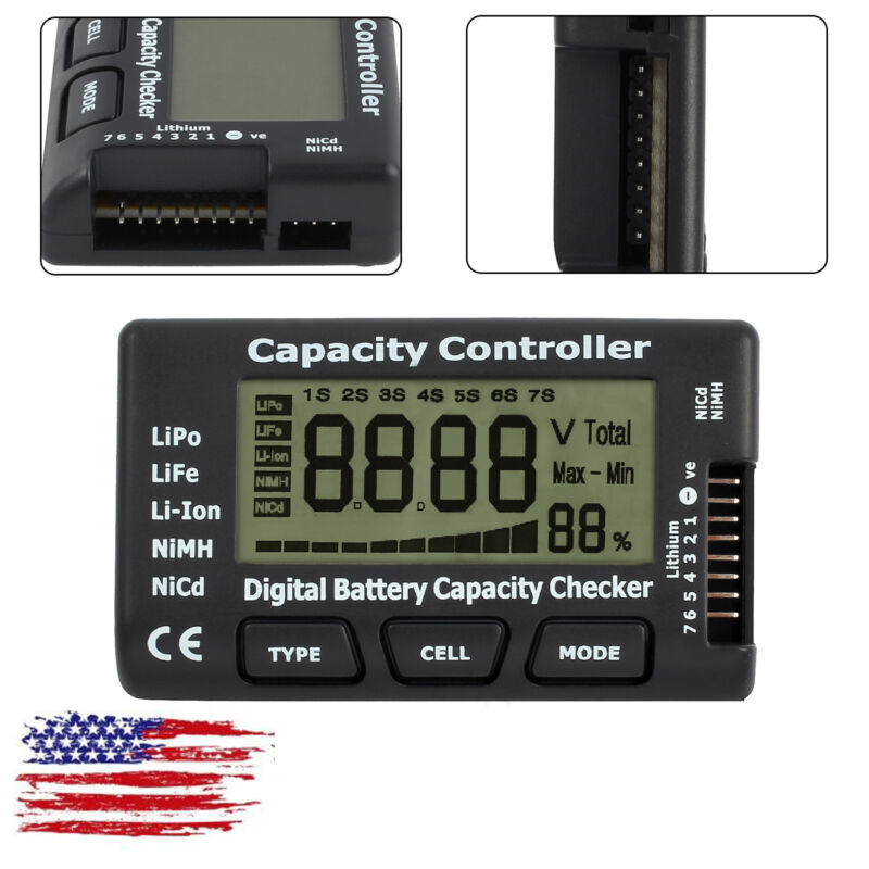 LCD Digital Battery Capacity Checker Tester Controller For LiPo LiFe Li-ion NiMH