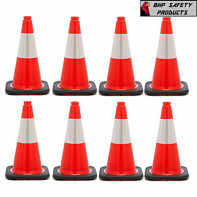 18 Inch Orange Safety Traffic Cone Black Base W 3m Reflective Collar 8 Pack