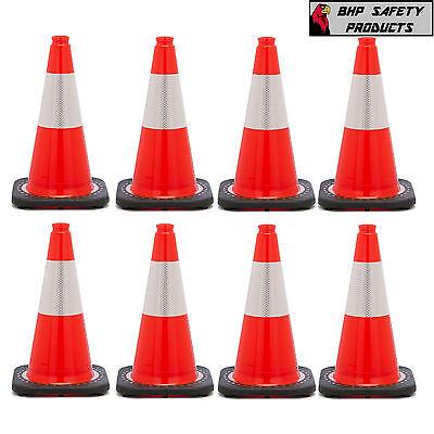 18 Inch Orange Safety Traffic Cone Black Base W 3m Reflective Collar 8 Pack