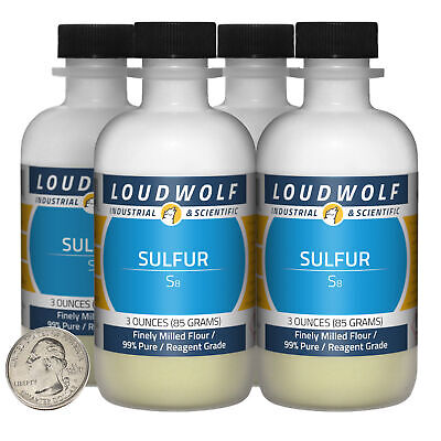 Sulfur 12 Ounces 4 Bottles 99 Pure Reagent Grade Finely Milled Flour