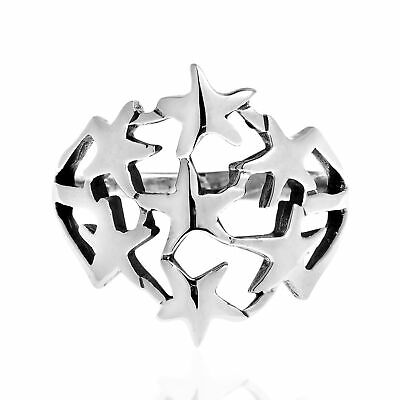 Perennial StarBurst Cluster Bunch .925 Silver Ring-9 Bunch Sterling Silver Ring