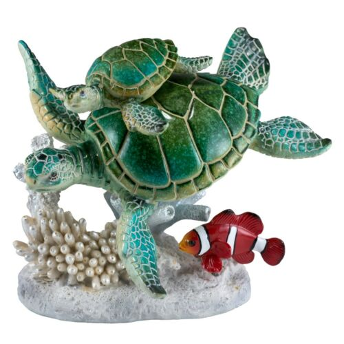 """Sea Turtles Swimming With Clown Fish On Faux Coral Figurine 5.5""""H Resin New!"""