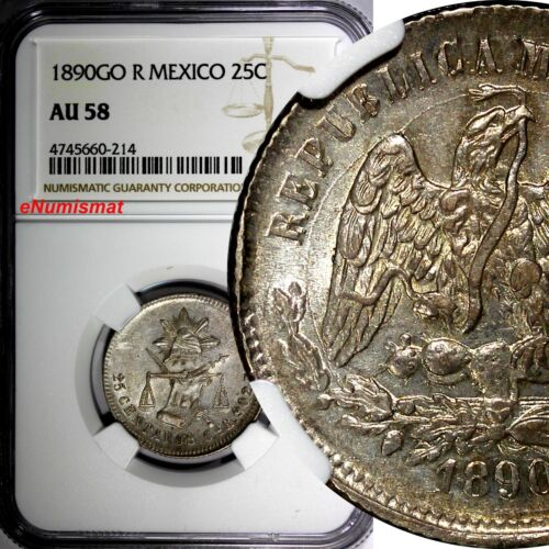Mexico Silver 1890 GO R 25 Centavos NGC AU58 Scale Mintage-236,000 KM# 406.5
