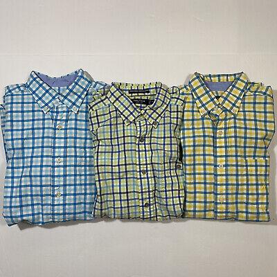 Lot Of 3 Nautica Mens Sz Medium Button Down Long Sleeve Shirts Plaid/Checks, GUC