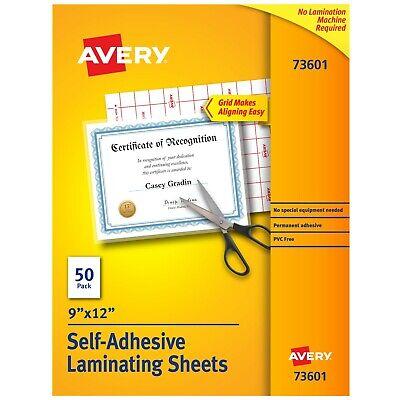Avery Self-adhesive Laminating Sheets 9 X 12 50 Clear Laminating Sheets