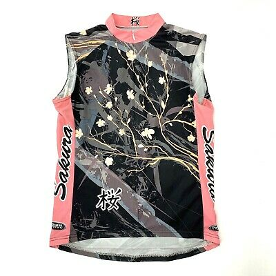 Primal Wear Sakura Womens CL Cycling Jersey Sleeveless Top Asian Floral Black