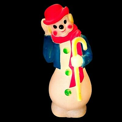 Vtg 1971 Empire Christmas Snowman Clown Hat Coat Tails FLUORESCENT Blow Mold 34""