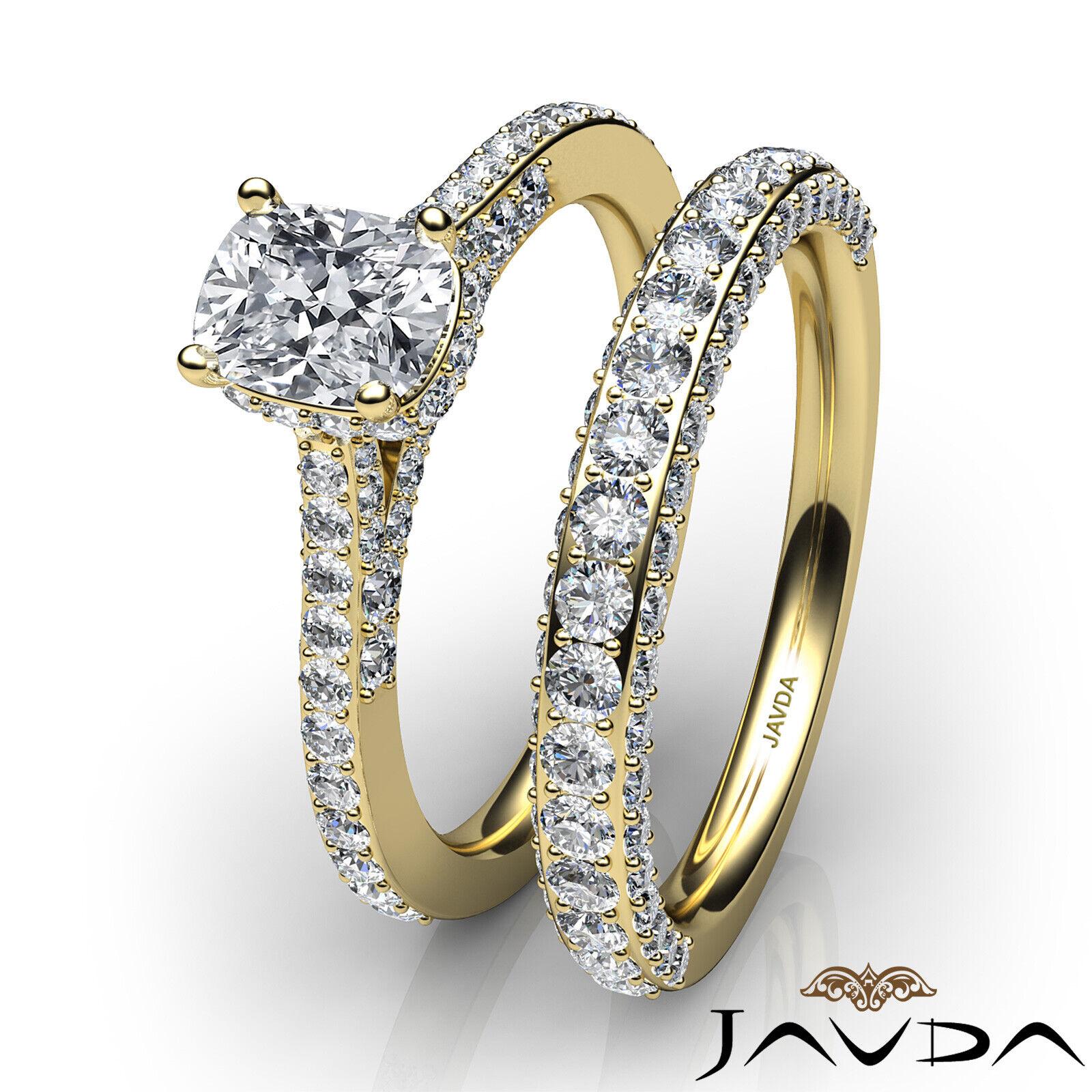 2.85ctw Pave Circa Halo Bridal Cushion Diamond Engagement Ring GIA F-VS1 W Gold 10