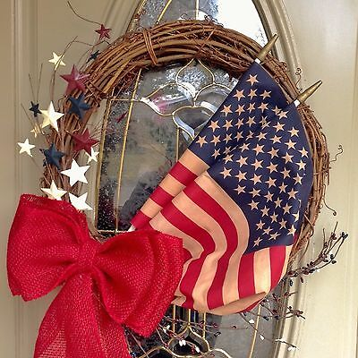 Patriotic,USA,America, Red, White,Blue Flag Grapevine Star Burlap Welcome Wreath