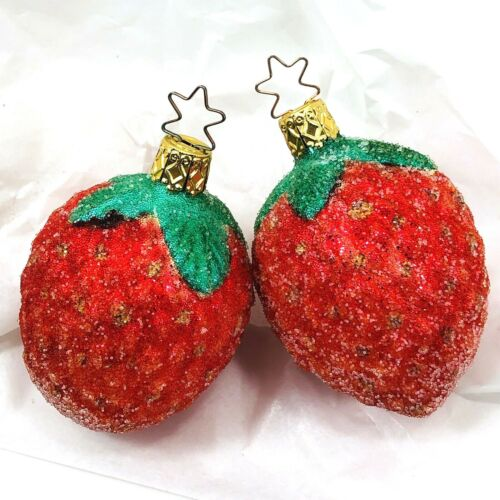 German Inge Glas Sugar Beaded Glistening Strawberry Christmas Ornament Set of 2