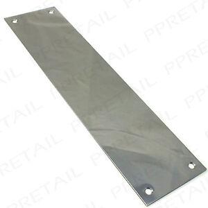 Large 300mm chrome finger plates solid front door push for Door finger plates