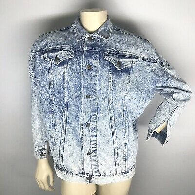 Vintage 90s Womens Acid Washed Denim Trucker Jacket Best World Brand Jacket Sz