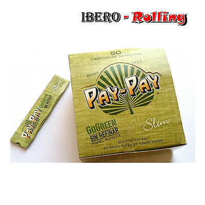 Papel fumar Pay Pay GoGreen de alfalfa, 25 libritos de 32 hojas...
