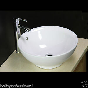 details about basin sink bowl countertop bathroom ceramic white round