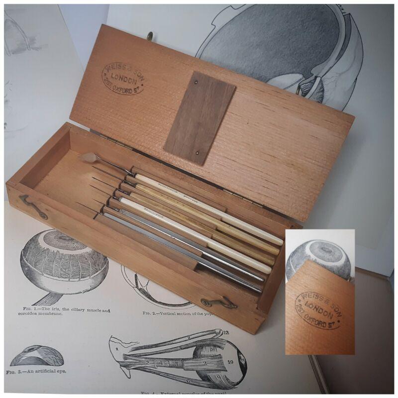 Antique Medical Surgical Weiss London Eye Kit Set Bone Horn 6 Scalpel Wood Case