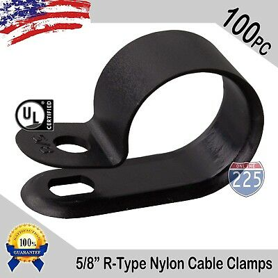 100 Pcs Pack 58 Inch R-type Cable Clamps Nylon Black Hose Wire Electrical Uv