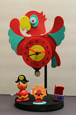 (MOVEABLE PARROT FOAM  NOVELTY CLOCK SOFT FOAM CHILDS ROOM USED WORKS BATTERY)