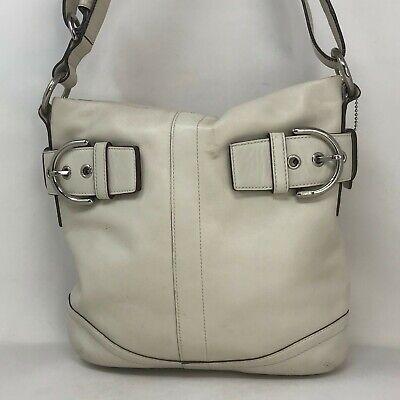 Coach Womens Dusty White Leather Adjustable Shoulder Strap Tote Handbag Purse