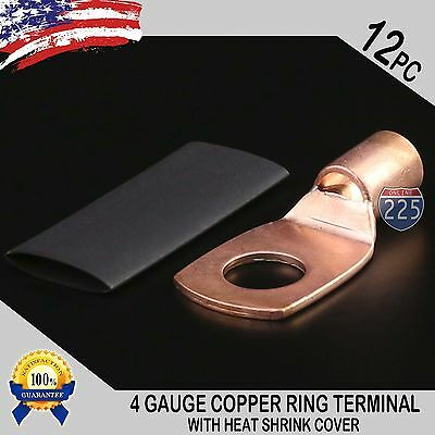 12 Pcs 4 Awg 4 Ga. Copper Ring Terminal Heat Shrink 38 Hole Lug Connector Us