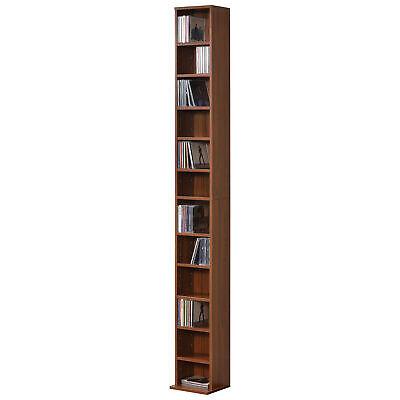 en.casa Estante para CDs Soporte para DVDs Librería con 12 compartimientos Nogal