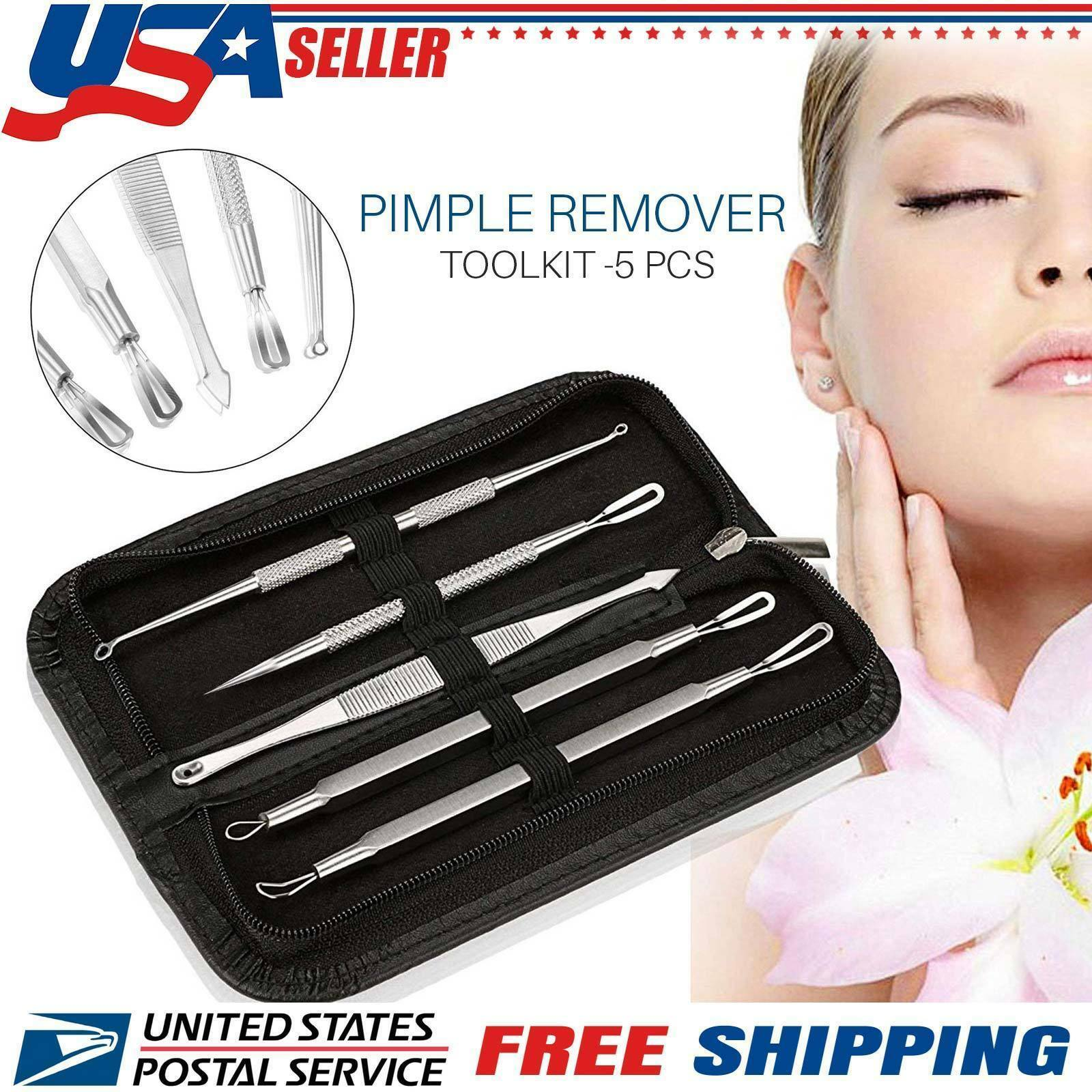 5pcs Blackhead Acne Comedone Pimple Blemish Extractor Remover Stainless Tool Kit