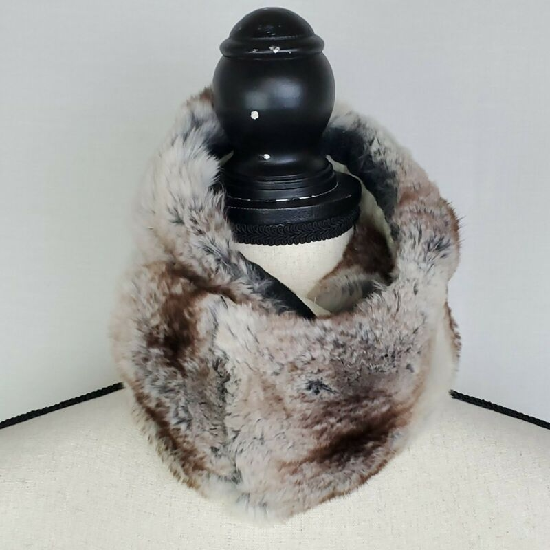 Vintage Genuine Chinchilla Neck Warmer Scarf Wrap Stole Handmade Brown Ivory