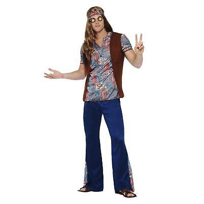 Herren Erwachsene Hippie Kostüm Kleid Outfit 60er Jahre 70er Woodstock - Herren Kostüm Woodstock
