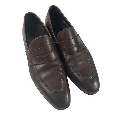 Santoni Penny Loafers Brown Leather Dress Shoes Apron Toe Men's Sz 9.5 D 8087