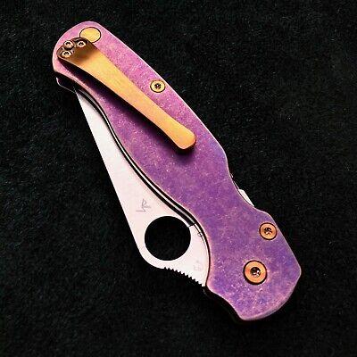 Spyderco Paramilitary 2 C81GP2 w/ Custom Purple Bronze Titanium Scales & Screws