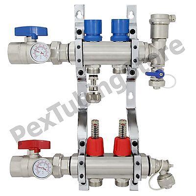 2-branch Pex Radiant Floor Heating Manifold Set - Brass For 38 12 58 Pex