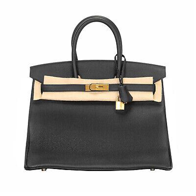 Hermes 35cm Black Togo Leather Birkin Bag, Gold Tone Hardware
