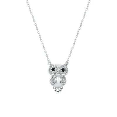 "925 Sterling Silver Owl Buho CZ Pendant 18"" ROLO Necklace Rhodium Plate"