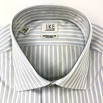 Ike Behar Blue Stripe 100% Cotton Dress Shirt Non-Iron 15.5, 34