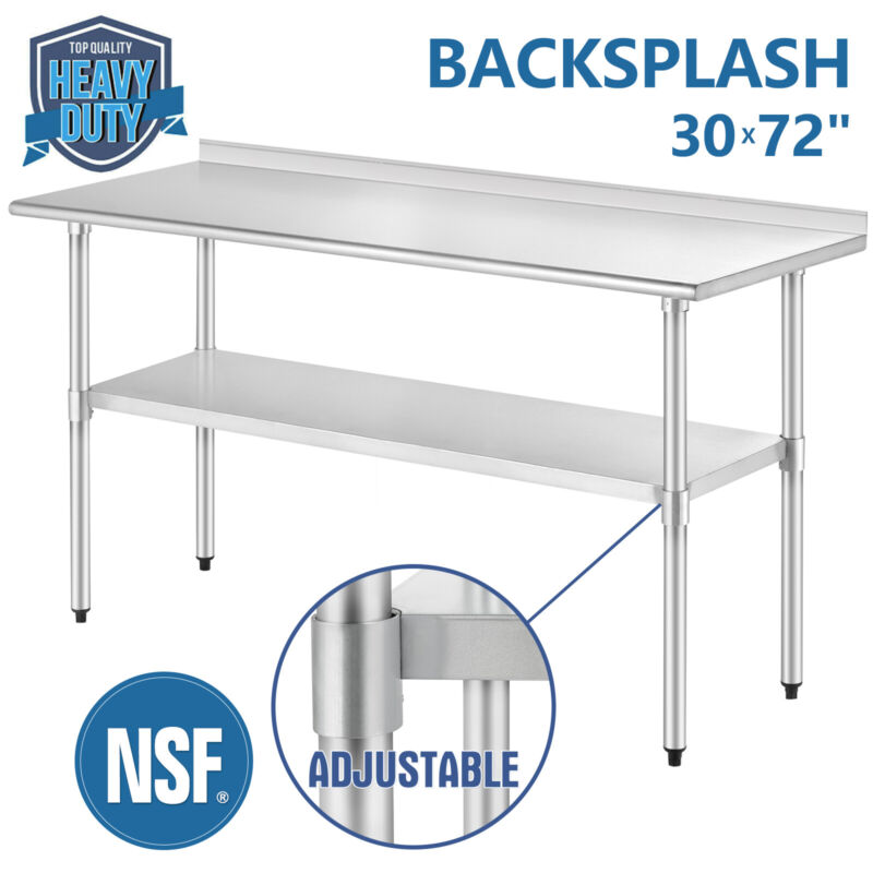 "30"" x 72"" Work & Prep Table Stainless Steel For Kitchen Restaurant w/ Backsplash"